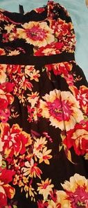Black dress with yellow/Red floral print